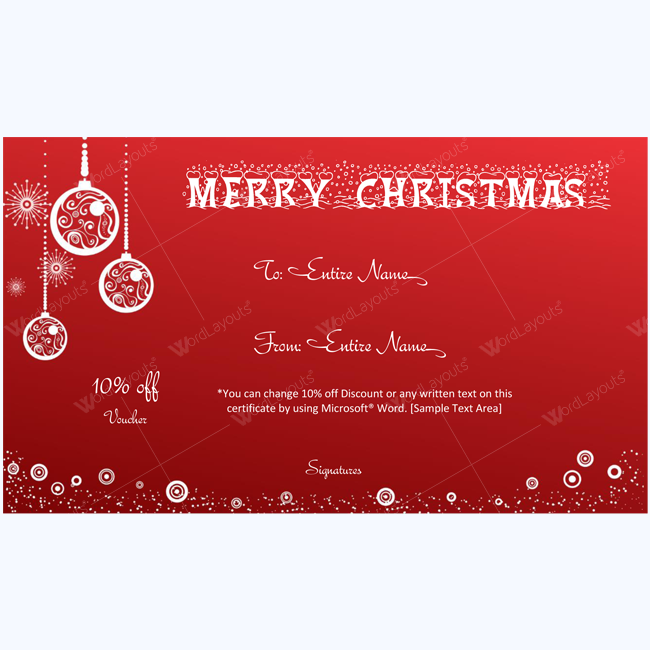 Exclusive Christmas Gift Certificate Template Word Layouts