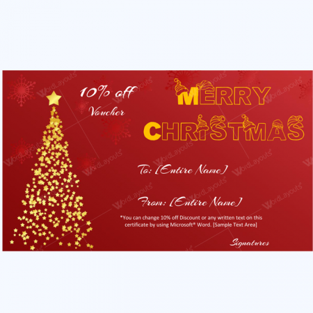 Merry christmas card template word layouts for Christmas gift certificate template word