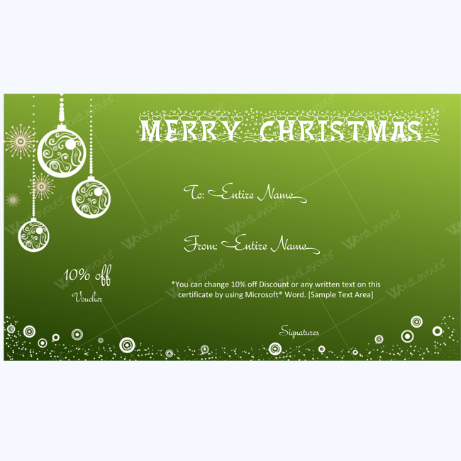 White and green gift card template word layouts christmas gift certificate template 20 yelopaper Choice Image