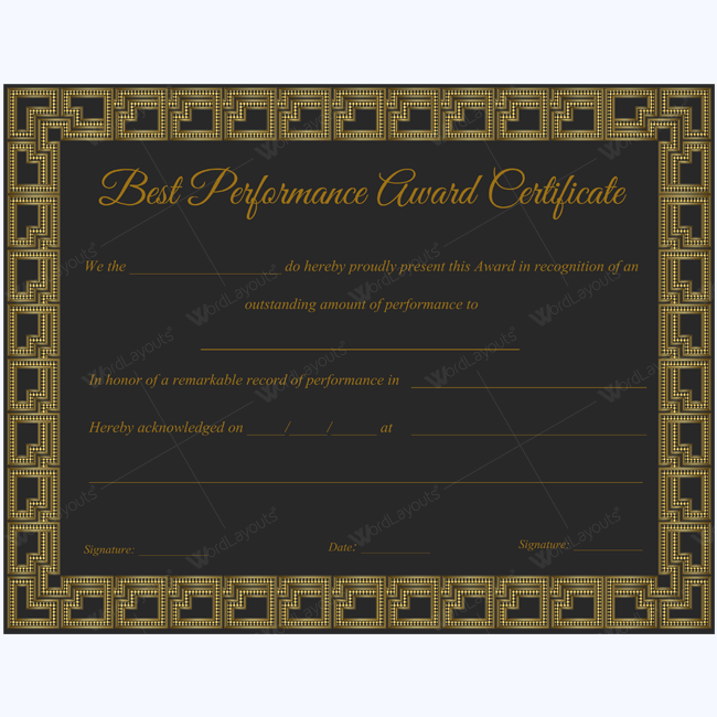 printable performance of year award certificate template
