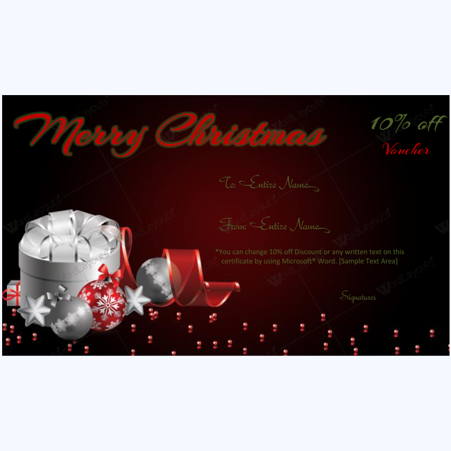 Christmas Gift Certificate Template from www.wordlayouts.com