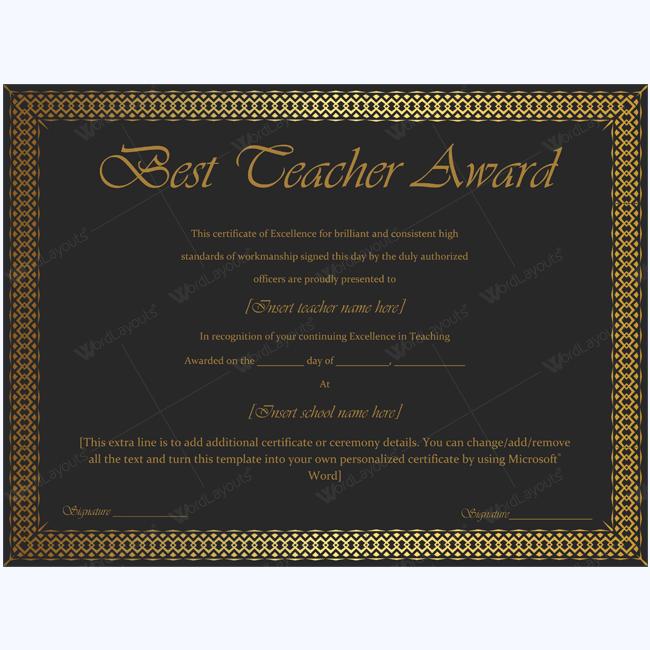 teaching award certificate templates