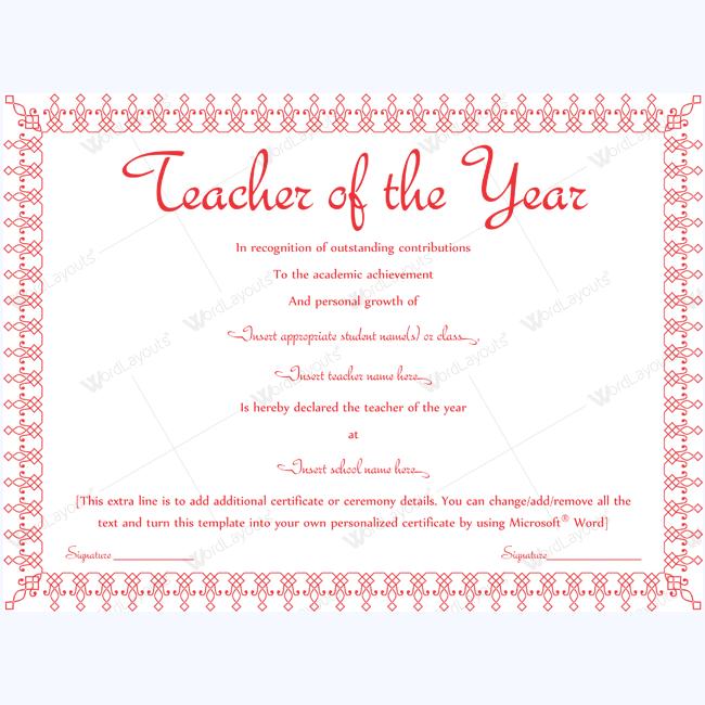 teacher of the year award template in word teacher of the year
