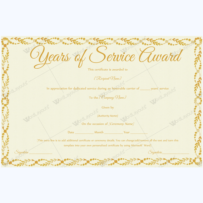 89 elegant award certificates for business and school events for Certificate of service template