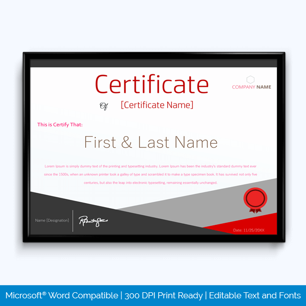 microsoft word award certificate templates