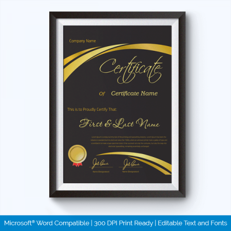 printable certificate templates for word