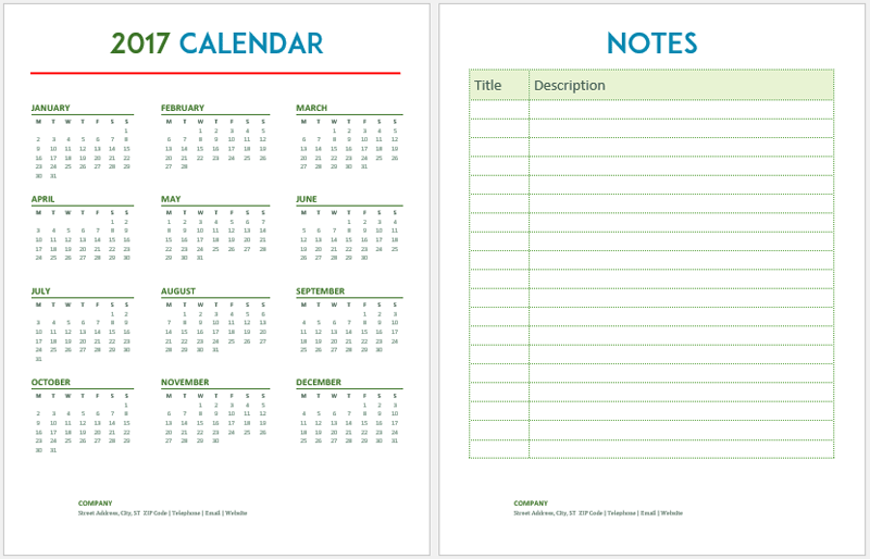 2017 Calendar Templates 5 Plus Weekly And Monthly Calendars
