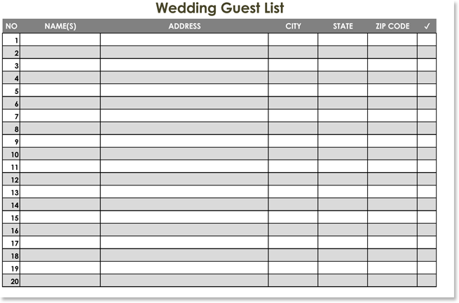 free wedding guest list templates for word and excel track invitations and rsvps. Black Bedroom Furniture Sets. Home Design Ideas