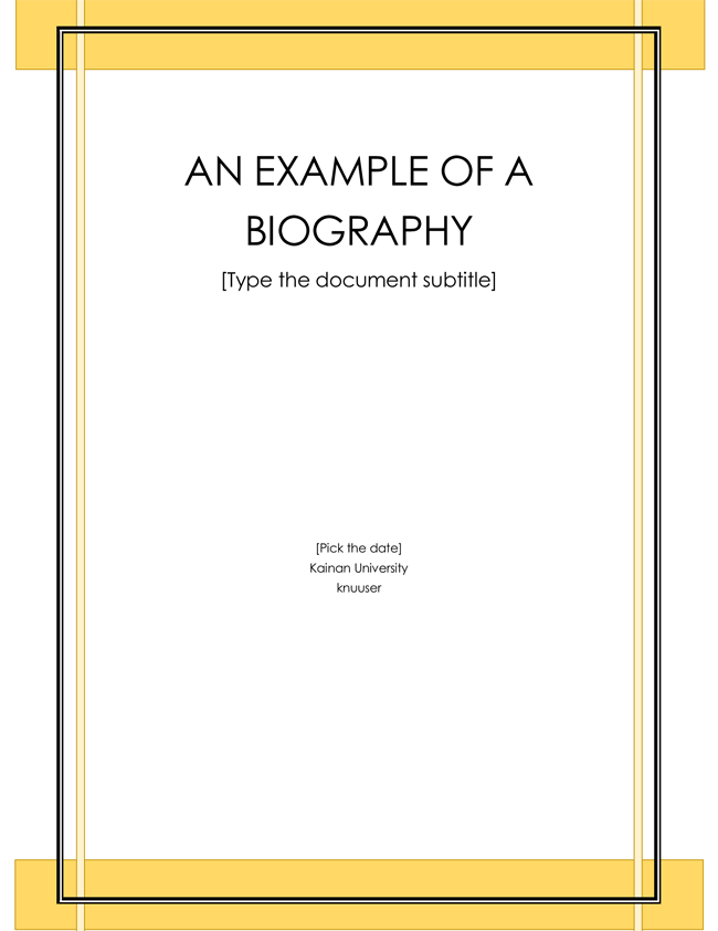 EXAMPLE OF A BIOGRAPHY  Microsoft Word Biography Template