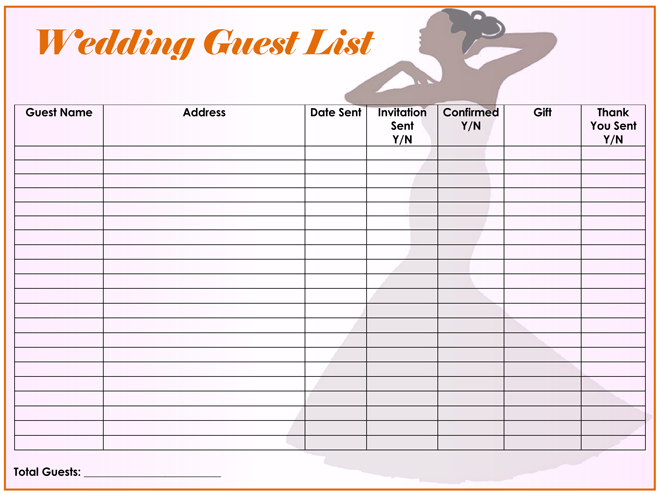 Wonderful Wedding Guest List Printable  Free Wedding Guest List Template