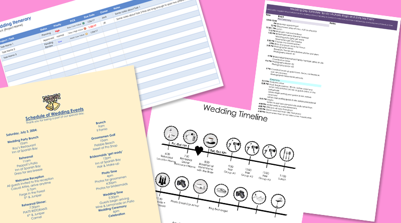 8 free wedding itinerary templates and schedule templates for big day