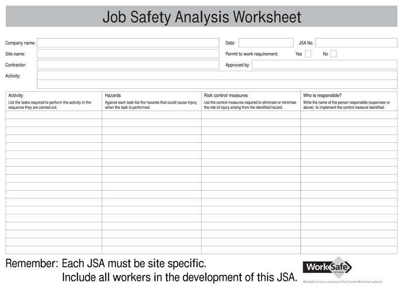 Exceptional Job Safety Analysis JSA Form For PDF With Job Safety Analysis Template Free