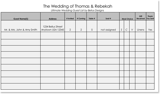 Printable Guest List Template  Printable Wedding Guest List Spreadsheet