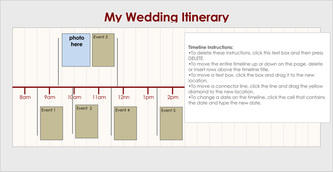 wedding schedule template for excel