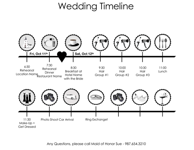 Free Wedding Itinerary Templates And Schedule Templates For Big Day - Wedding timeline template free