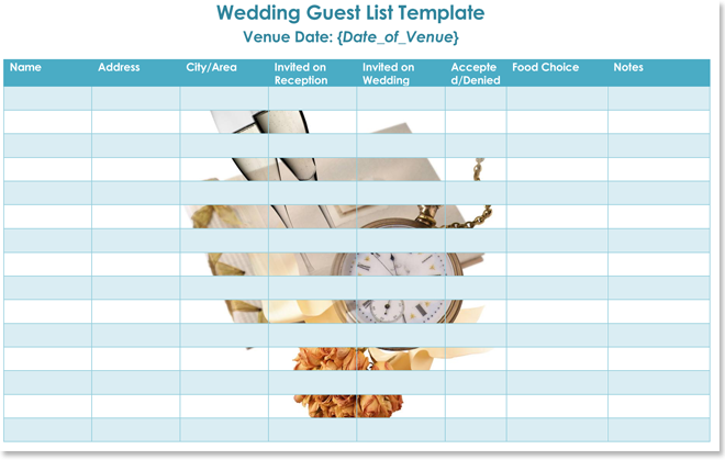 Wedding guest lists for Word