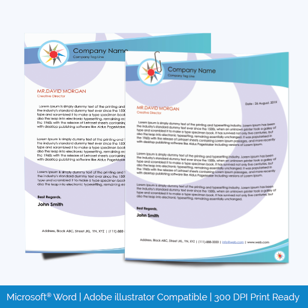 Editable and Printable Letterhead Template for MS Word