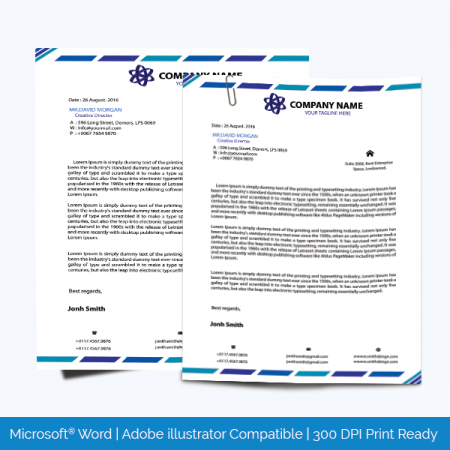Letterhead Template in blue color theme