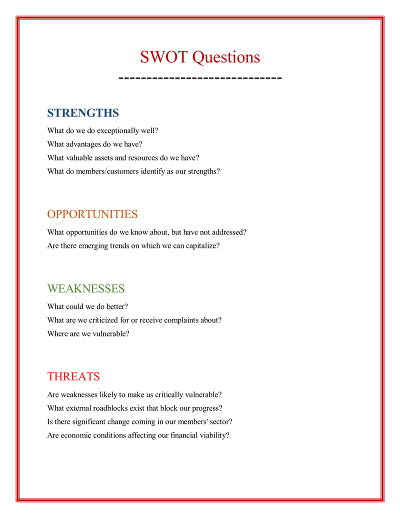 business swot analysis examples for word excel ppt and pdf swot analysis questions