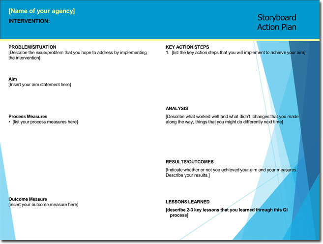 Action plan storyboard template for PowerPoint