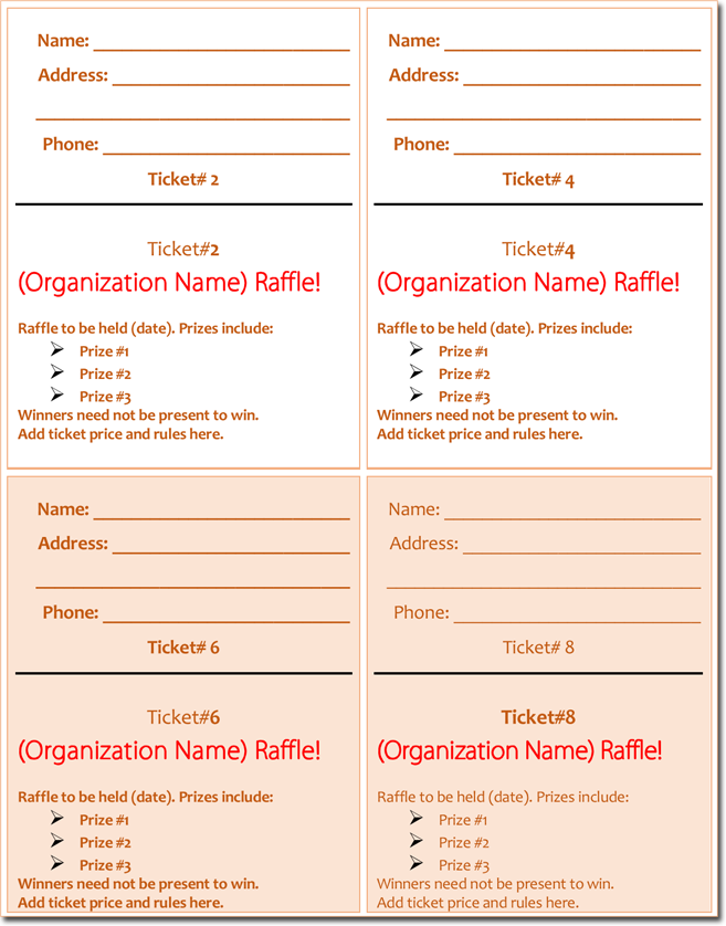 free templates for raffle tickets