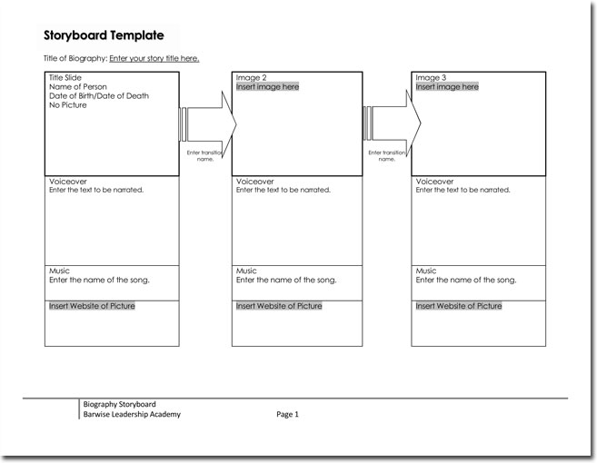 Free Storyboard Templates For Basic Visual And Digital Animation