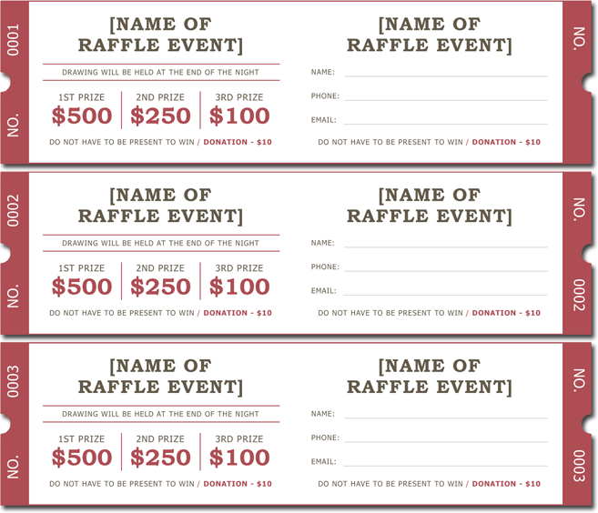 20 Free Raffle Ticket Templates with Automate Ticket Numbering – Winning Ticket Template