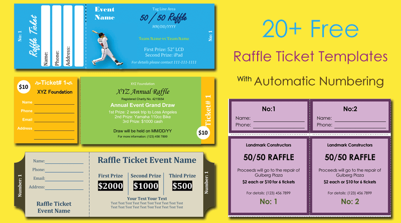 Word Layouts  Free Numbered Raffle Ticket Template