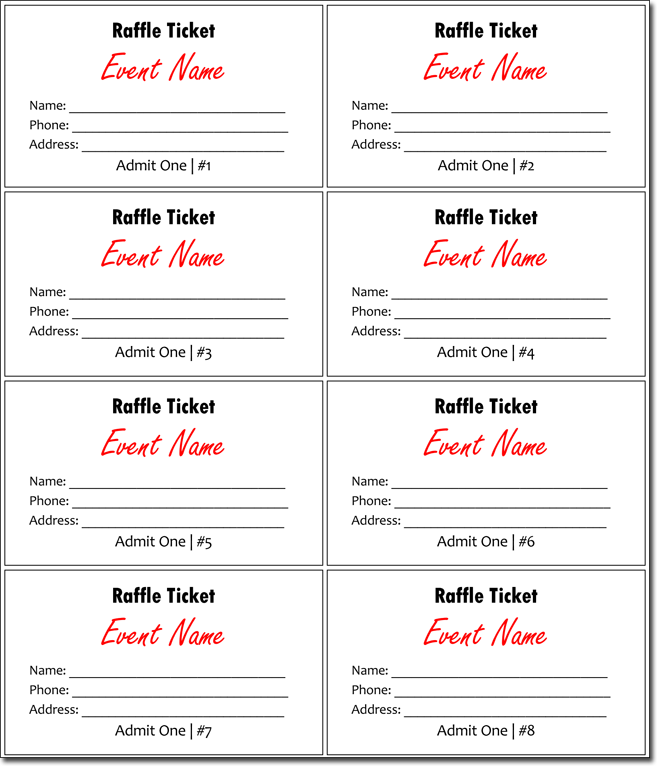 20 free raffle ticket templates with automate ticket numbering. Black Bedroom Furniture Sets. Home Design Ideas