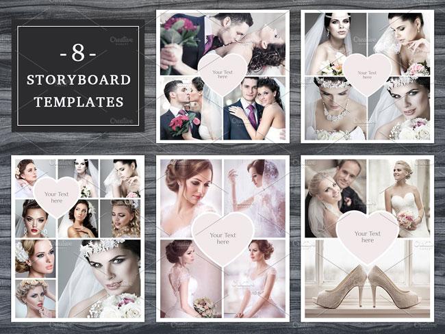 Set of 8 digital photo storyboard template PSD