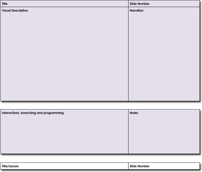 Visual Production Storyboard Template in Word Format
