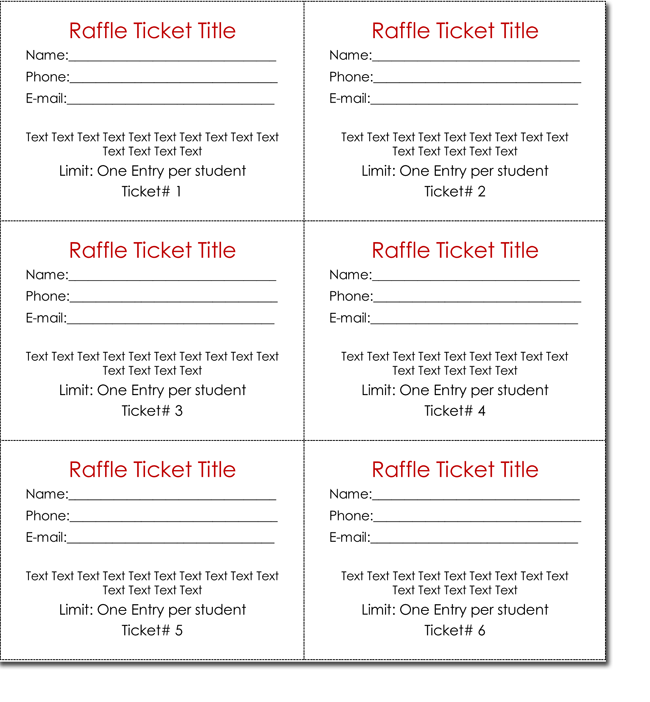 Blank Raffle Ticket Templates  Entry Ticket Template