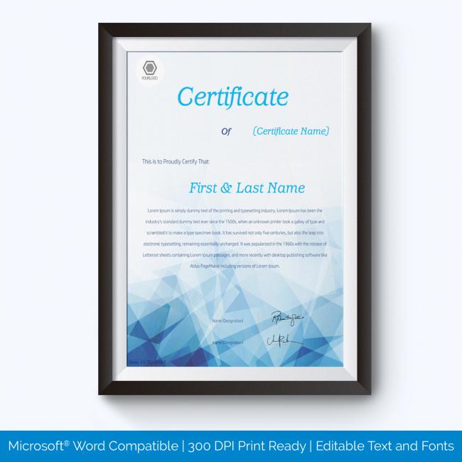 Award Certificate for teachers