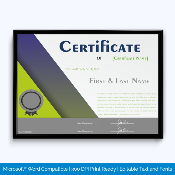 Award Certificate of Completion