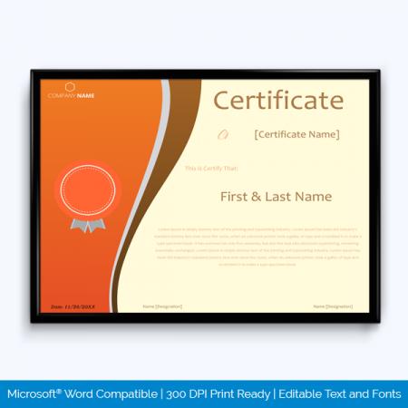Award Certificate of appreciation
