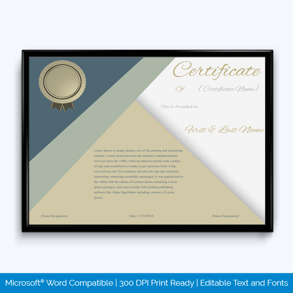 Award Certificateof excellence