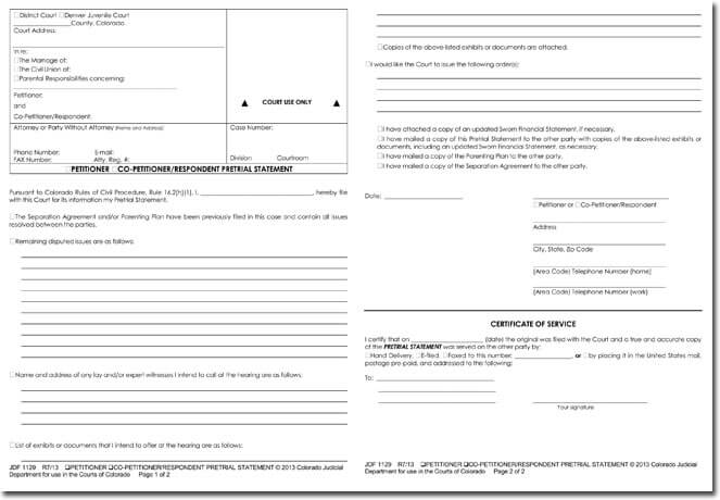 Blank Petition Form Example for Court