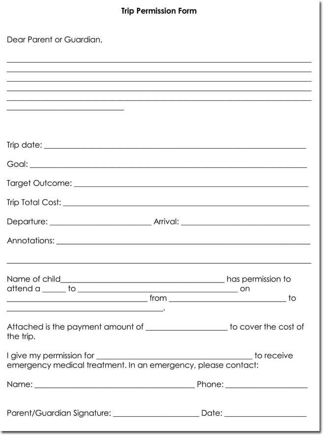 Blank Trip Permission Form Download