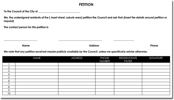 City Council Petition Template and Signature Sheet