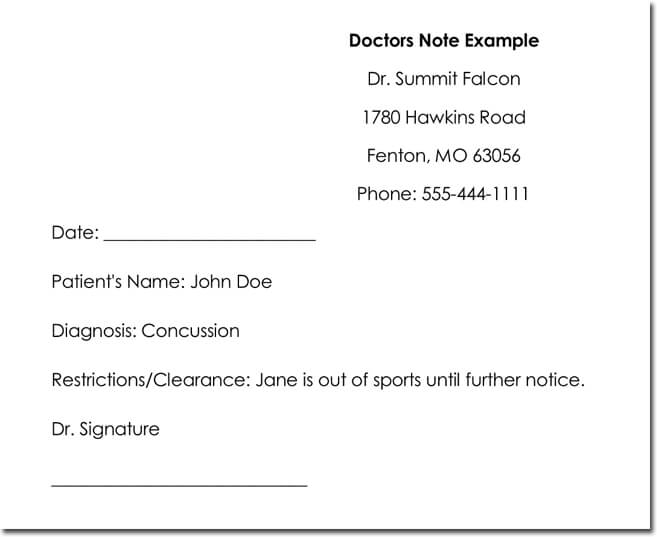 doctor note example thevillas co