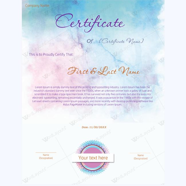 editable award certificate template