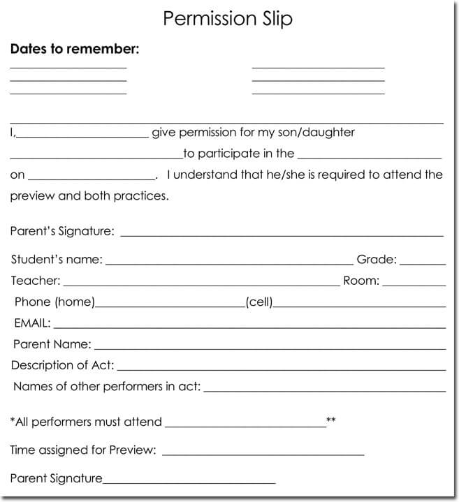 participation waiver template - 25 field trip permission slip templates for schools and