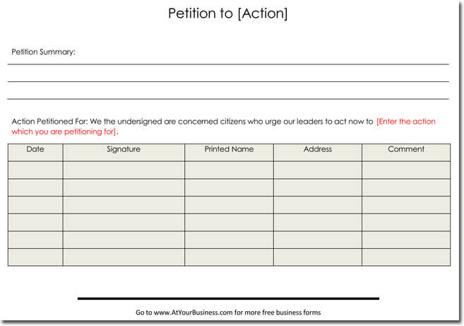 Example Petition Templates And Format