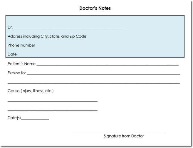 Doctors note templates 28 blank formats to create doctors excuse fake blank doctors note template word altavistaventures Choice Image
