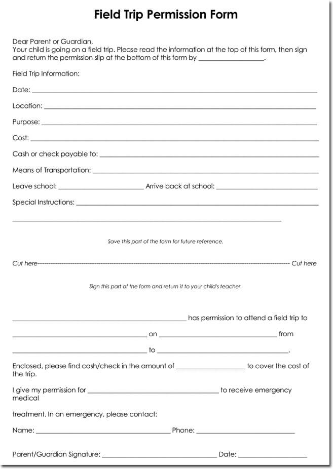 25 field trip permission slip templates for schools and colleges field trip permission form format maxwellsz