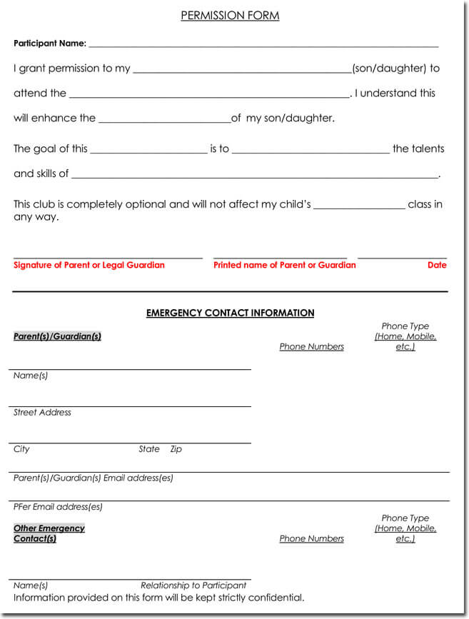 Free Permission Form Template for Microsoft Word