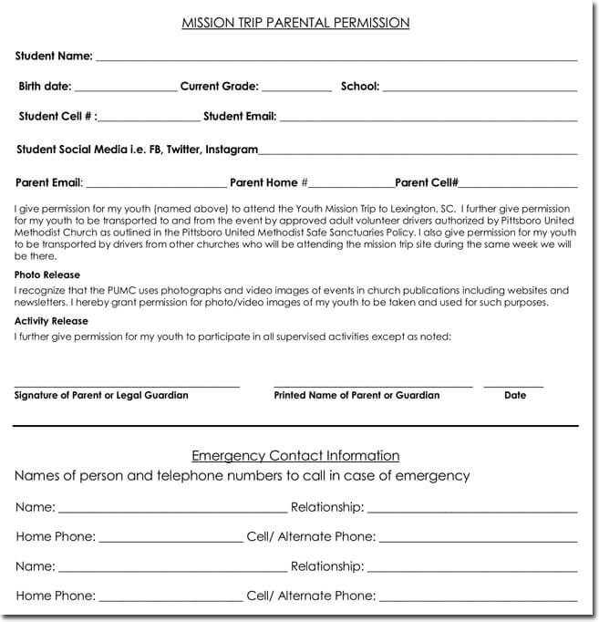 Field Trip Permission Slip Templates For Schools And Colleges