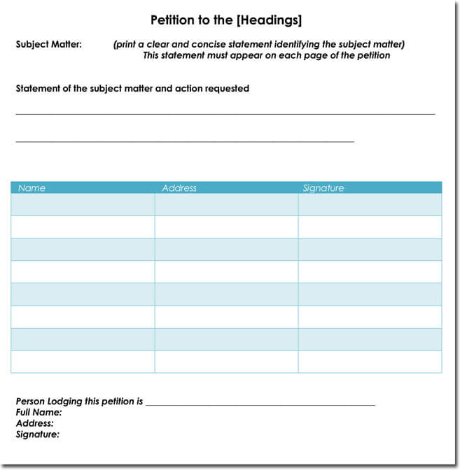 Petition signature sheet to print pictures to pin on for Template for petition signatures