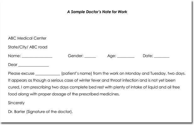 Doctor's Note Templates - 28+ Blank Formats to Create Doctor's Excuse