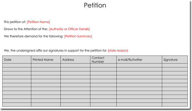 Sample Petition Template Word
